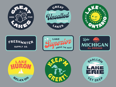 Freshwater Supply Co. hats sticker patch water fresh sun great lakes minnesota wisconsin ohio new york united states michigan ontario lakes logo sunset canada