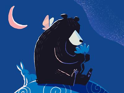 Moliere the Bear canada waterloo galaxy moon rabbit bear childrens book illustration