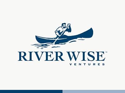 River Wise logo navy blue idenity wise river canoe brand design branding brand