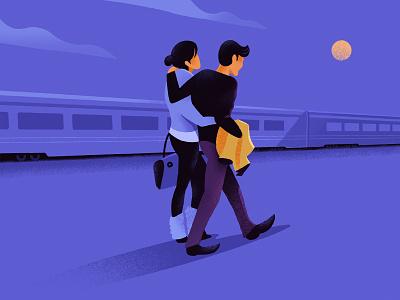 Night Train night waterloo procreateapp illustration walking moonlight trains