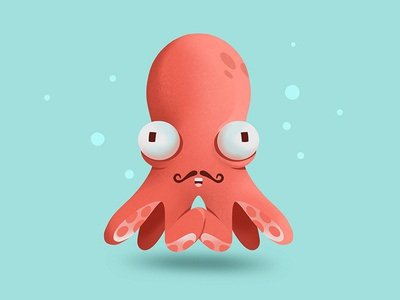 Octopus old-timey canada mustache waterloo graphic bubbles water ocean character illustration octopus