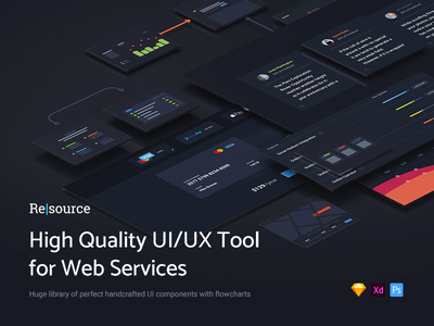 Resource | High Quality UI/UX Tool for Web Services webservices service web ux ui kit site premium freebie free flowcharts download
