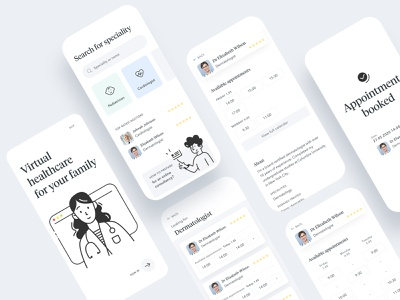 Medical appointments | Booking App health medical mobile calendar onboarding appointments booking patient doctor illustration ux uiux ui app