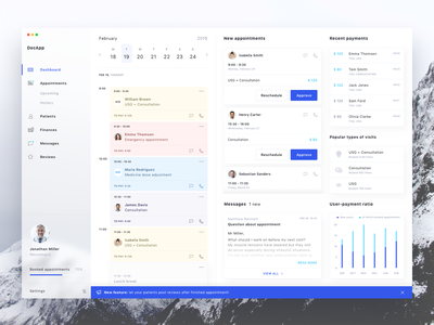 Medical Managing App - Dashboard blur white blue ui  ux notification appointments stats calendar navigation medical app dashboard