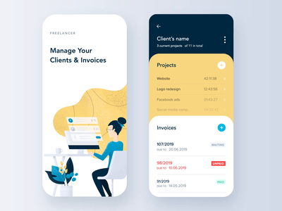App for freelancers sdh design ux ui cards projects invoices onboarding reminder app illustration animation