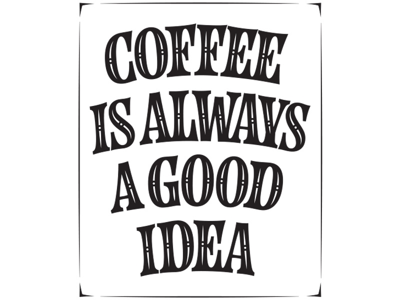 Coffee poster lettering type vector poster coffee blackwhite