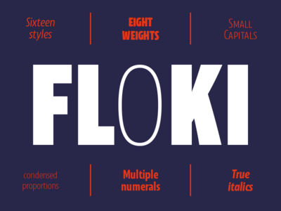 Floki clear modern condensed graphic design promotion typography font sans serif typeface type design