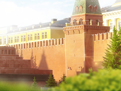 Retouch of Kremlin kremlin red square trees sunny star moscow russia