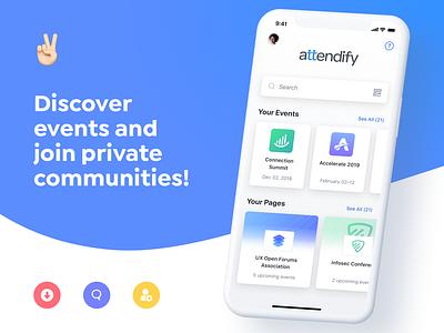 Attendify App Landing Page blue iphone ios tt app attendify