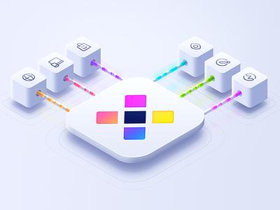Data Flow Illustration photoshop 3d attendify tt drops white light icons logo cube illustration flow data