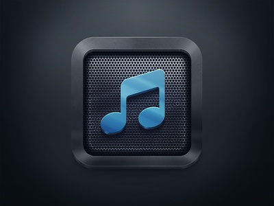 Simple Icon for a MusicApp note play icon ios metal
