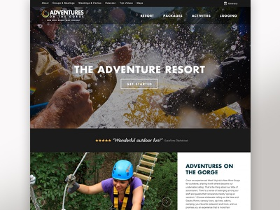 Adventures on the Gorge paramoredigital paramore design website redesign rafting outdoor west virginia gorge adventures