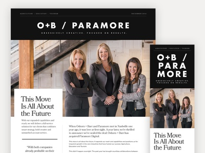 O+B / Paramore website design news agency paramore digital paramore osborn barr