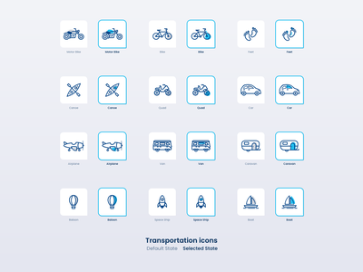Transportation icons blue boat ship baloon caravan van airplane xd illustrator adobexd vector icons quad canoe car feet bike transport icon set