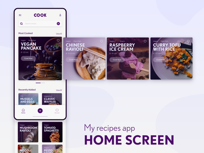 My recipes app interface home screen design ux ui smartphone app vegan cookbook recipe cooking app cooking