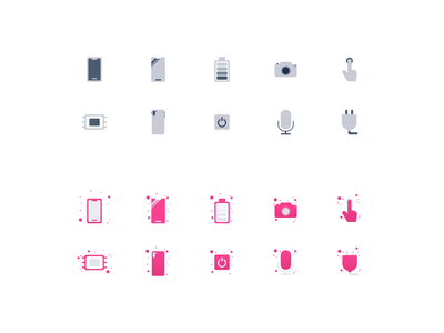 Icon set microphone camera button battery body screen memory template ecommerce ui ux pink inactive active icon devices icons