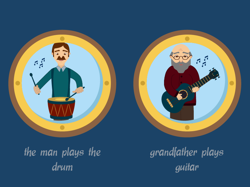 Sentences for a Kids Game 3 drum guitar playing music tablet game sentence kids illustration game