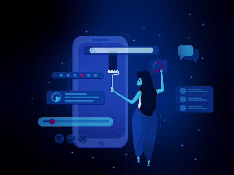 Designer World website illustration character ui  ux design design blue illustration