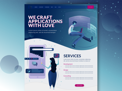 Home Page with illustrations charachter designer services website gradient ux developer design typography vector ui blue illustration software house