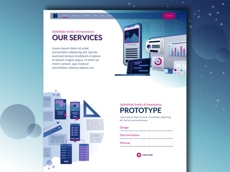 Our Services vector typography software house prototypes services gradient website ux ui design illustration blue