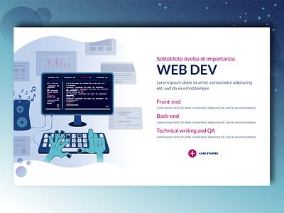 Our Services: Web Dev back end front end pc development coder hands vector typography developer website ux ui design blue illustration