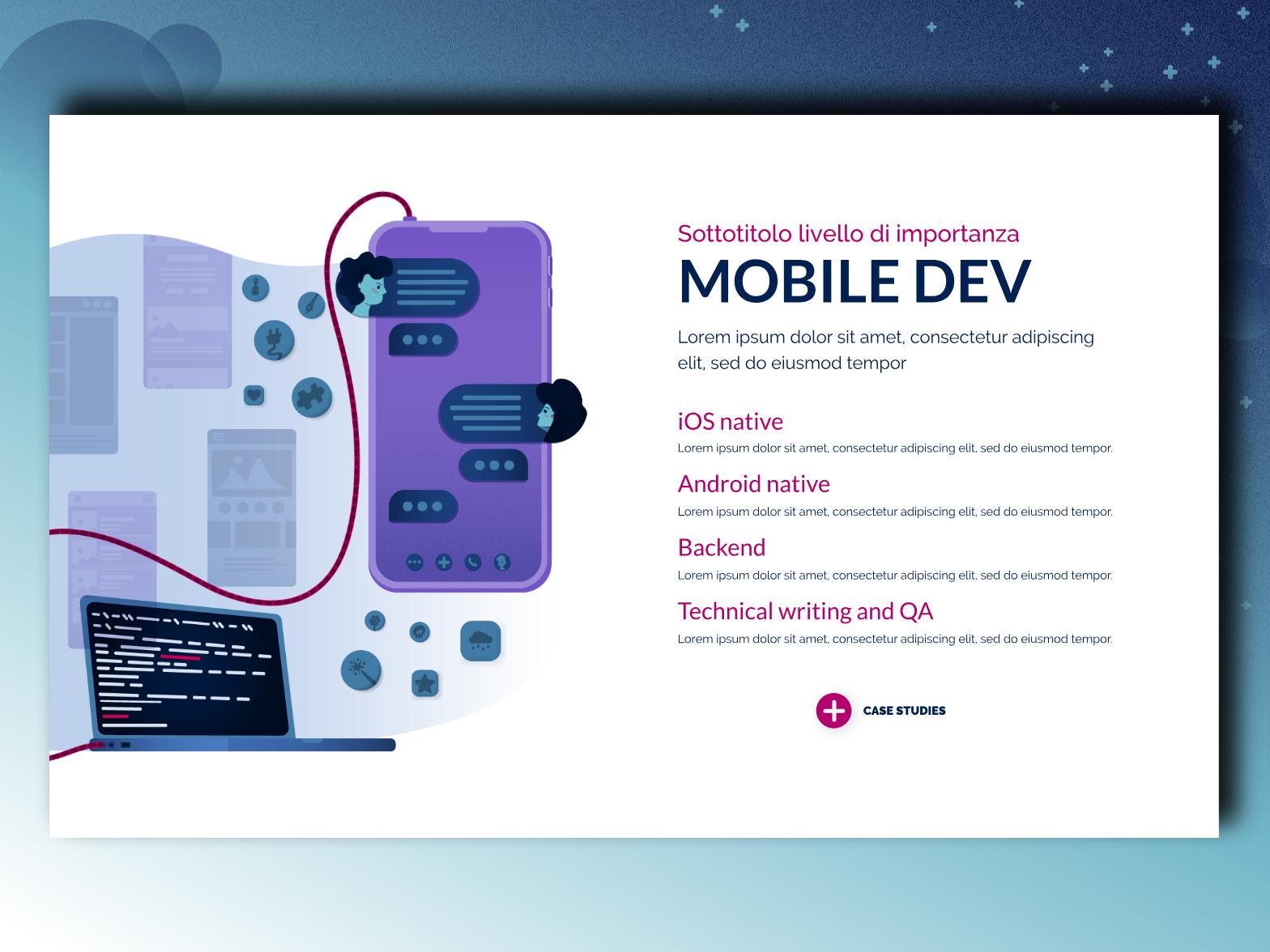 Our Services - Mobile charachter android ios mobile mobile app development app vector typography developer icon website ux ui design blue illustration