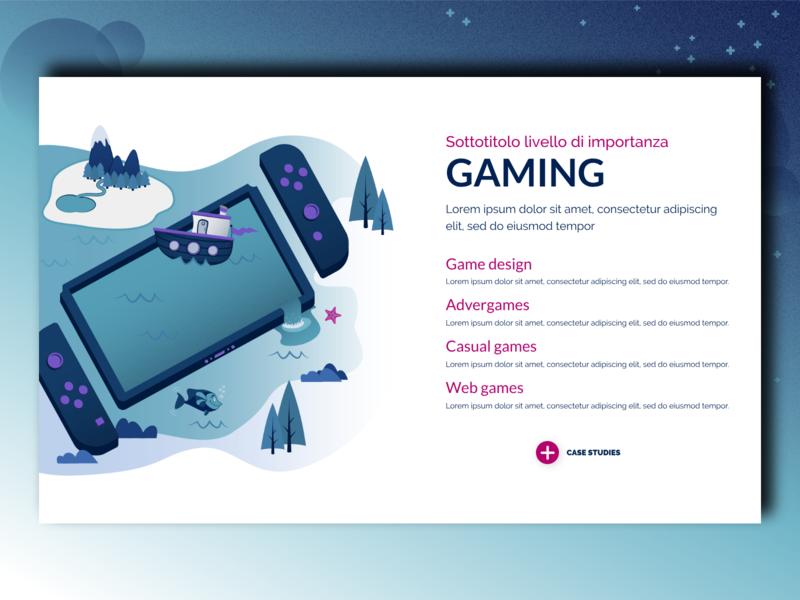 Our Services: Gaming gaming game design game dev boat nintendo switch mobile fish vector typography developer website ux ui design tablet game blue game illustration