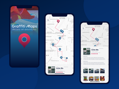 Graffiti Maps concept mural mobile app concept user interface interface design blu xddailychallenge adobexd ux ui artist itinerary map graffiti art