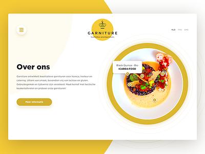 Garniture web company yellow design ux ui plate food culinary home decorations restaurant
