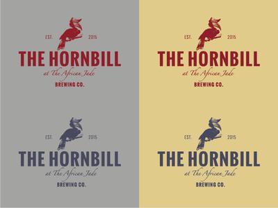 The Hornbill brew sans script red blue gray yellow bird logo