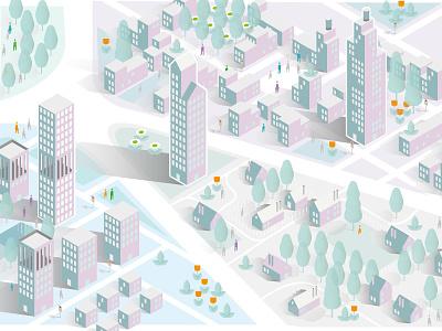 Ciudad cityscape infographics buildings cold 3d city map