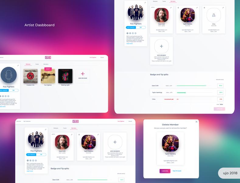UjoMusic Members player music website webapps logo icon branding blockchain ux ui