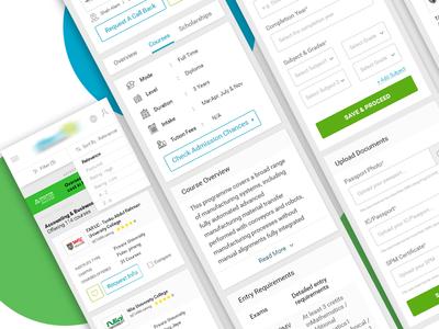 Education listing, detail & form screen design