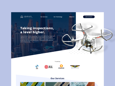 Homepage - Drone Services photograhy blue desktop homepage design sketchapp inspect drone homepage art illustrator minimal branding flat website ux design ui