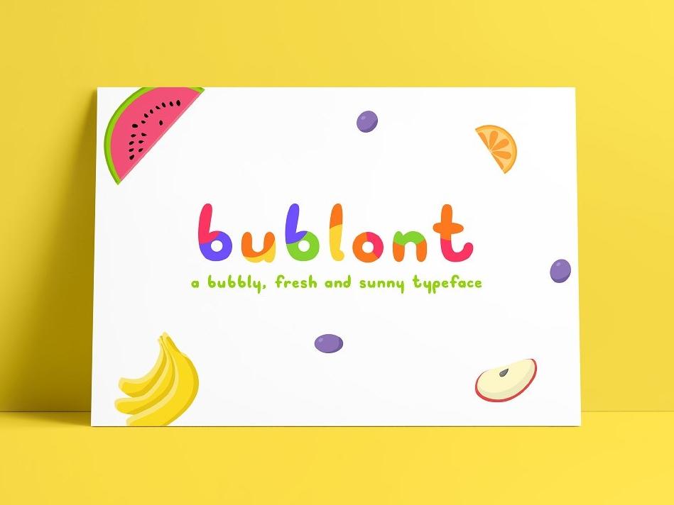 Bublont Typeface fontself bublont sale social vector graphic design ui design cute poetry fruit invitation kids family otf ttf type color color font typeface font