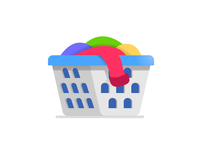 Clothes tossed in a laundry basket 👕 clothes laundry sketch red minimal graphic design drawing clean blue design art website flat web icon app icon vector design ui logo illustration
