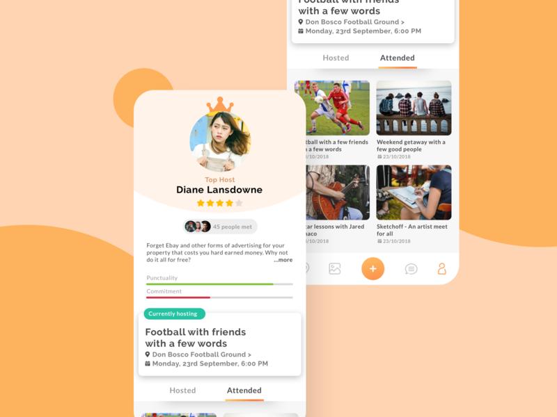Profile Screen - Hyperlocal Social Network ui design illustration ux vector mobile app website icon flat web typography orange onboarding character social hybrid messaging map