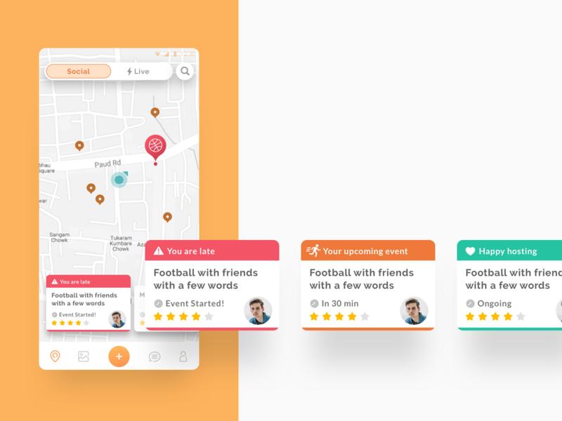 Activity Types - Hyperlocal Social Network ui design illustration ux vector mobile app website icon flat web typography orange onboarding character social hybrid messaging map