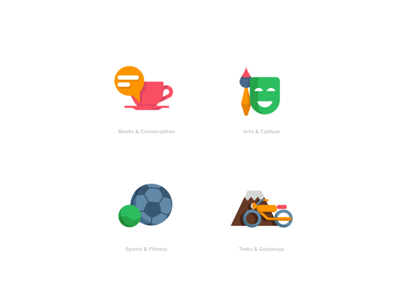 Icons - Hyperlocal Social Network ui design illustration ux vector mobile app website icon flat web typography orange onboarding character social hybrid messaging map