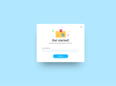 Signup Modal - Laundry App minimal signup onboarding laundry typography web flat icon website app mobile vector ux illustration design ui bright graphic