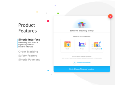 Product Features - Laundry App branding slideshow features homepage laundry typography web flat icon website app mobile vector ux illustration design ui bright graphic