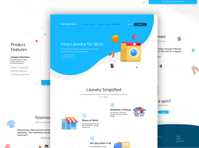 Homepage - Laundry App Website static page homepage branding laundry typography web flat icon website app mobile vector ux illustration design ui bright graphic