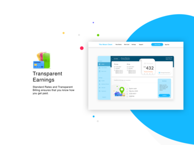 Feature - Earnings - Laundry App homepage features laundry typography web flat icon website app mobile vector ux illustration design ui bright graphic