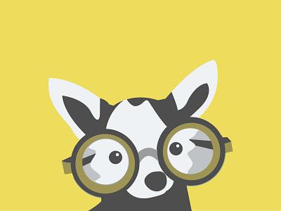 Newbie flat vector illustration dog puppy glasses