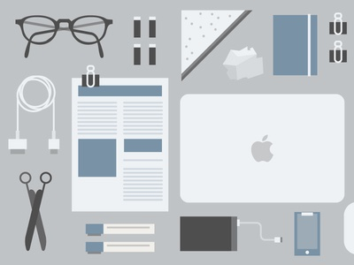 My Desk flat illustration desk tools laptop supplies chargers scissors glasses