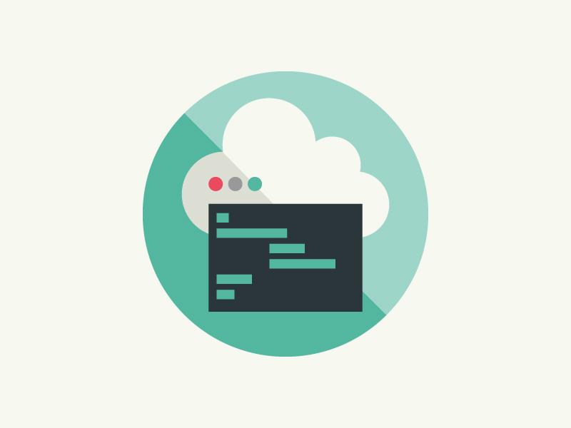 Cloud Computing cloud computing badge flat terminal code