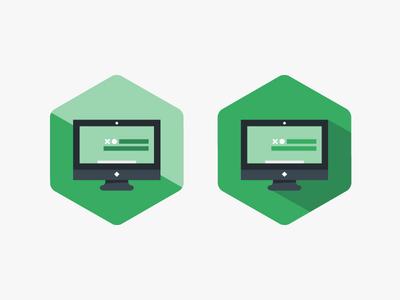 Homago Badge Directions badges web computer monitor flat vector illustration