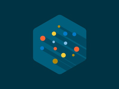 Particles badge science particles geometric basic illustration flat shadow