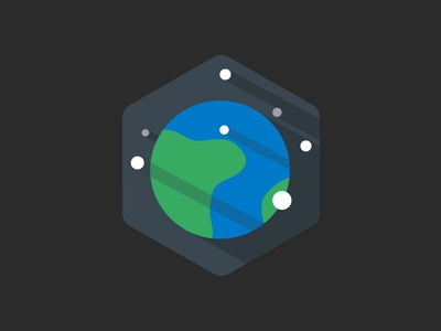 Mother Earth space earth planet badge flat shadows illustration vector