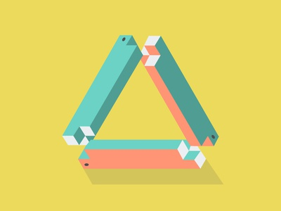Tribar (Penrose Triangle) toys flat vector illustration shapes geometry triangle 3-d